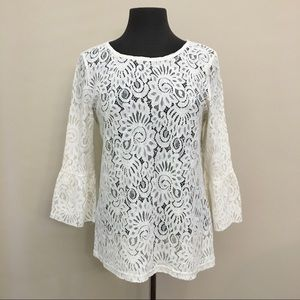 ICHI Lace Bell Sleeve Blouse